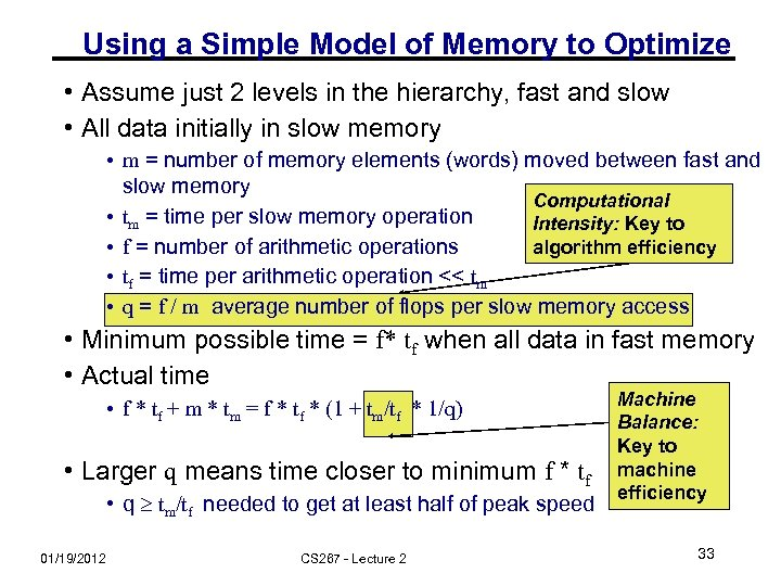 Using a Simple Model of Memory to Optimize • Assume just 2 levels in