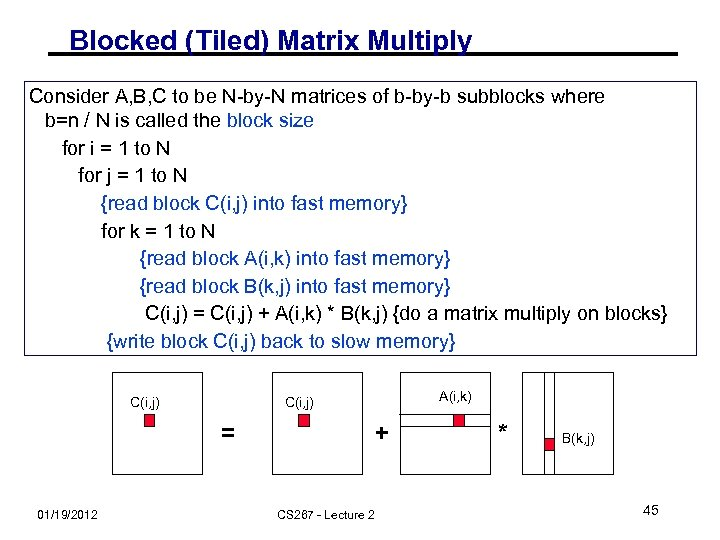 Blocked (Tiled) Matrix Multiply Consider A, B, C to be N-by-N matrices of b-by-b