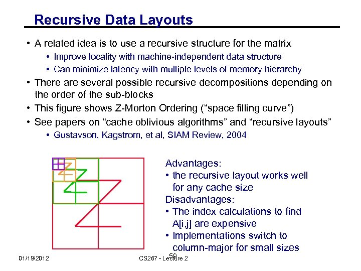 Recursive Data Layouts • A related idea is to use a recursive structure for