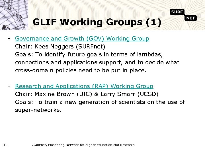 GLIF Working Groups (1) - Governance and Growth (GOV) Working Group Chair: Kees Neggers