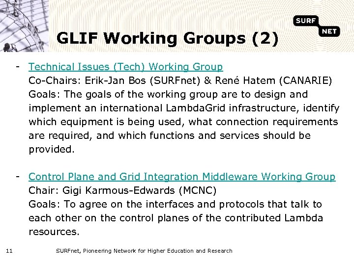 GLIF Working Groups (2) - Technical Issues (Tech) Working Group Co-Chairs: Erik-Jan Bos (SURFnet)