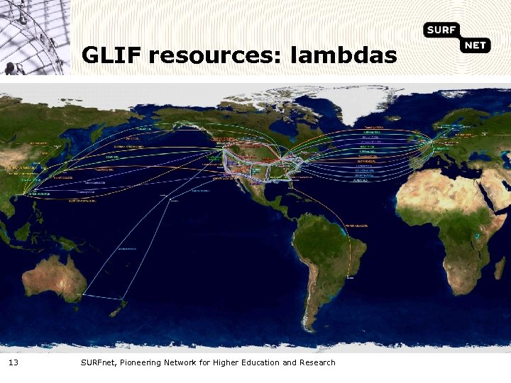 GLIF resources: lambdas 13 SURFnet, Pioneering Network for Higher Education and Research