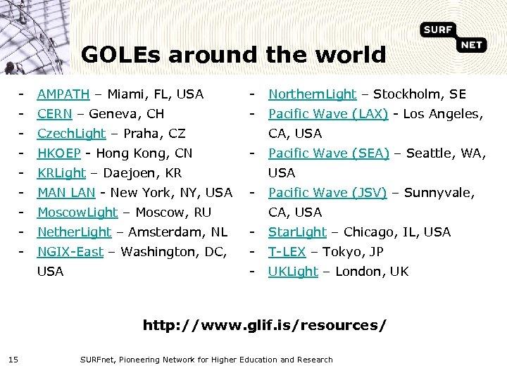 GOLEs around the world - AMPATH – Miami, FL, USA - Northern. Light –