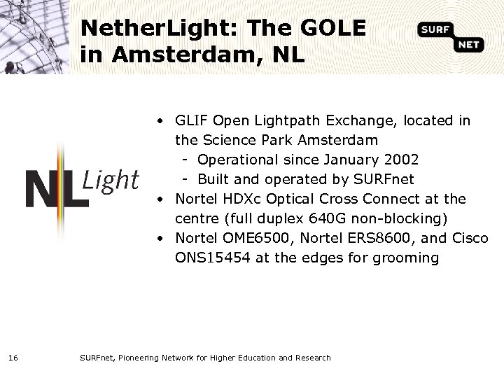 Nether. Light: The GOLE in Amsterdam, NL • GLIF Open Lightpath Exchange, located in