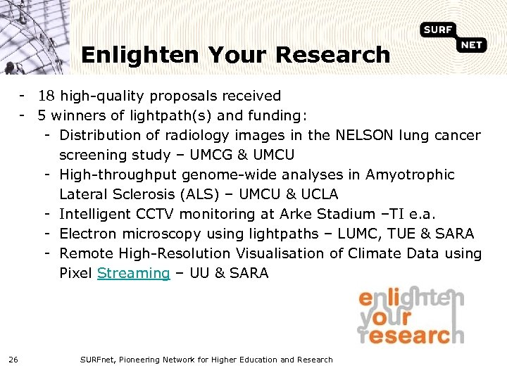Enlighten Your Research - 18 high-quality proposals received - 5 winners of lightpath(s) and
