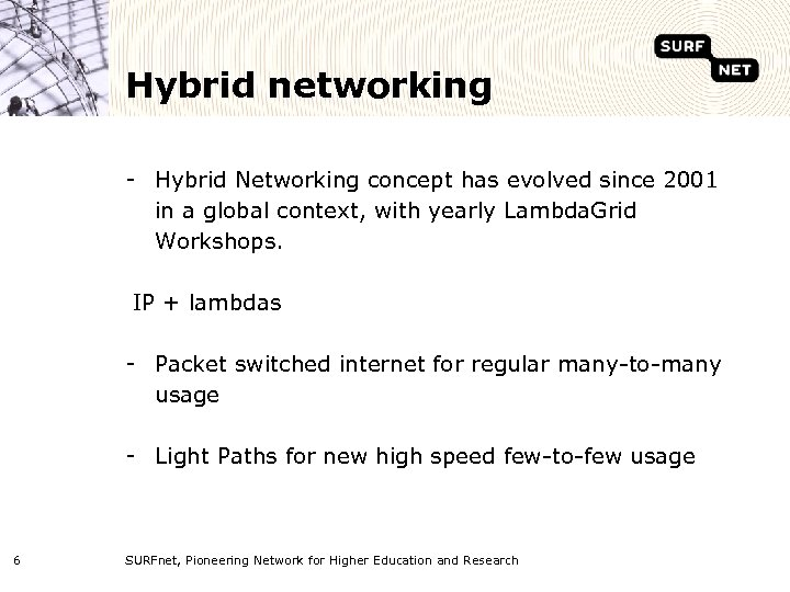 Hybrid networking - Hybrid Networking concept has evolved since 2001 in a global context,