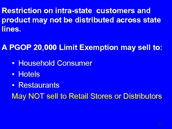 Restriction on intra-state customers and product may not be distributed across state lines. A