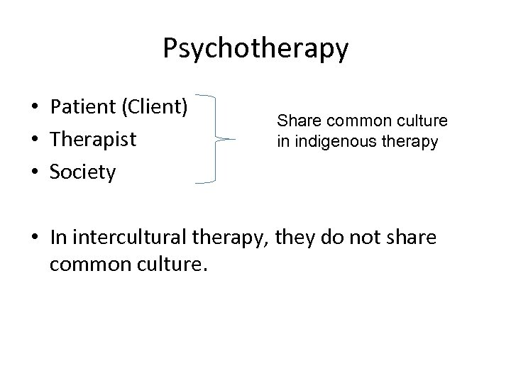 Psychotherapy • Patient (Client) • Therapist • Society Share common culture in indigenous therapy