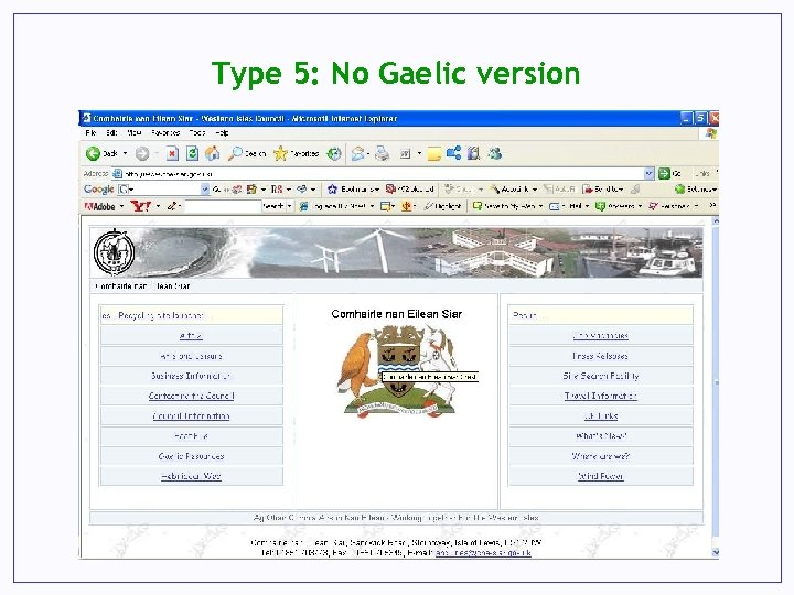 Type 5: No Gaelic version
