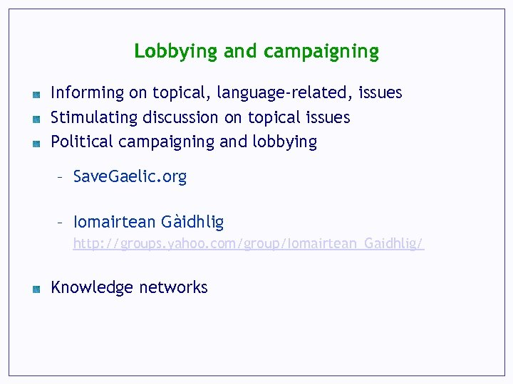 Lobbying and campaigning Informing on topical, language-related, issues Stimulating discussion on topical issues Political