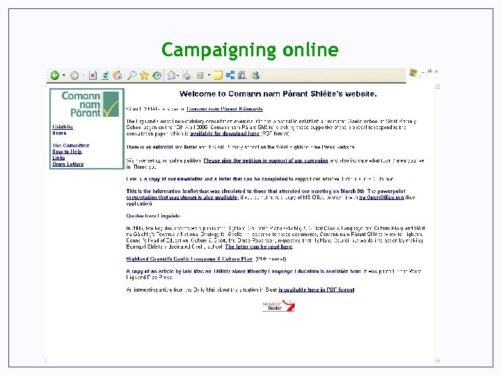 Campaigning online