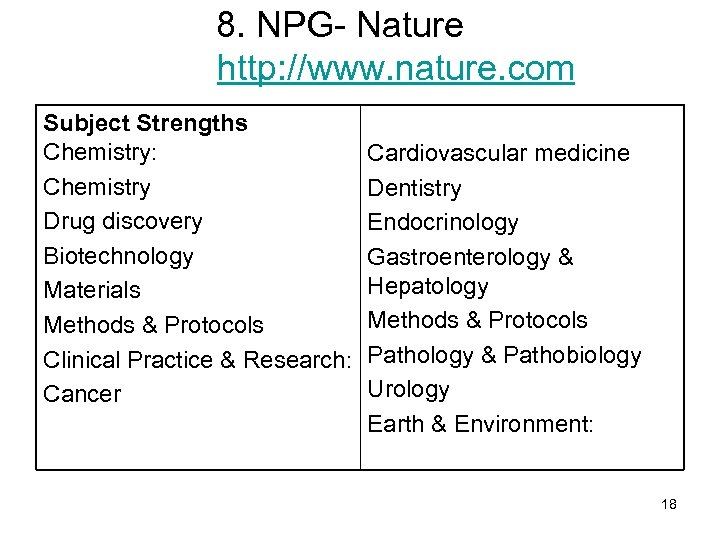 8. NPG- Nature http: //www. nature. com Subject Strengths Chemistry: Chemistry Drug discovery Biotechnology
