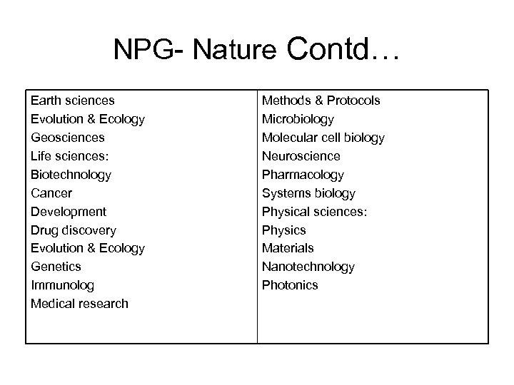 NPG- Nature Contd… Earth sciences Evolution & Ecology Geosciences Life sciences: Biotechnology Cancer Development