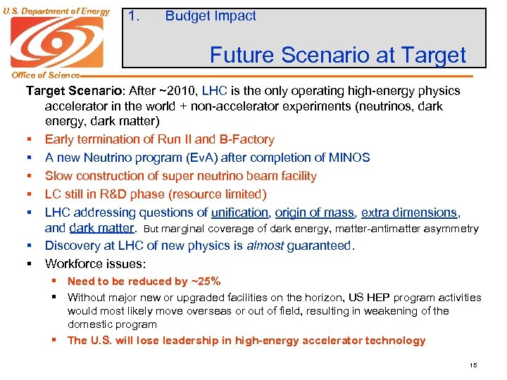 U. S. Department of Energy 1. Budget Impact Future Scenario at Target Office of