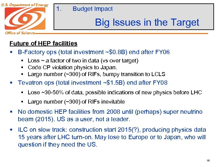 U. S. Department of Energy 1. Budget Impact Big Issues in the Target Office