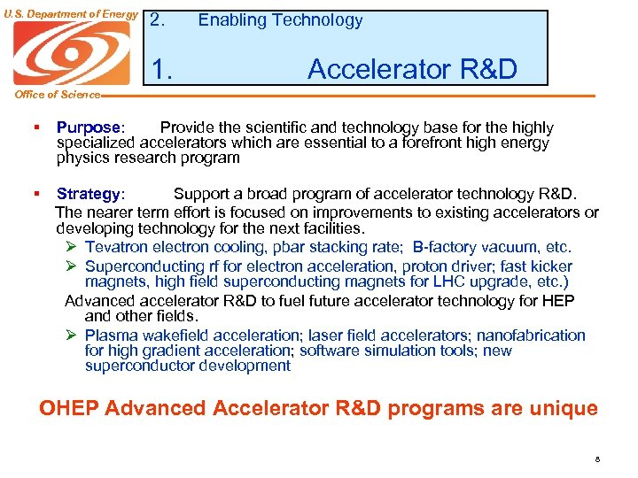 U. S. Department of Energy 2. 1. Enabling Technology Accelerator R&D Office of Science
