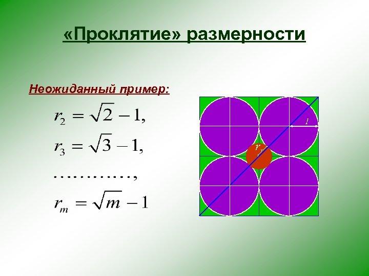 «Проклятие» размерности Неожиданный пример: 1 r