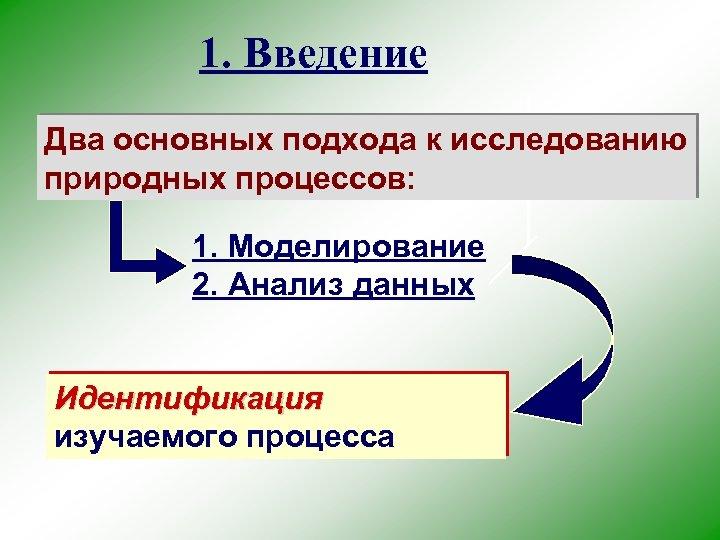 1. Введение Два основных подхода к исследованию природных процессов: 1. Моделирование 2. Анализ данных