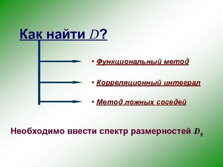 Как найти D? • Функциональный метод • Корреляционный интеграл • Метод ложных соседей Необходимо