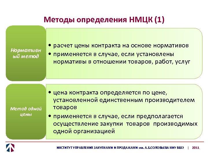 Методы определения НМЦК (1) • расчет цены контракта на основе нормативов Нормативн • применяется
