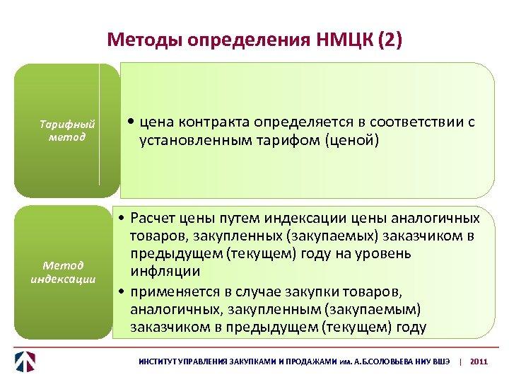 Методы определения НМЦК (2) Тарифный метод Метод индексации • цена контракта определяется в соответствии