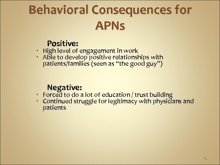 Behavioral Consequences for APNs Positive: High level of engagement in work Able to develop
