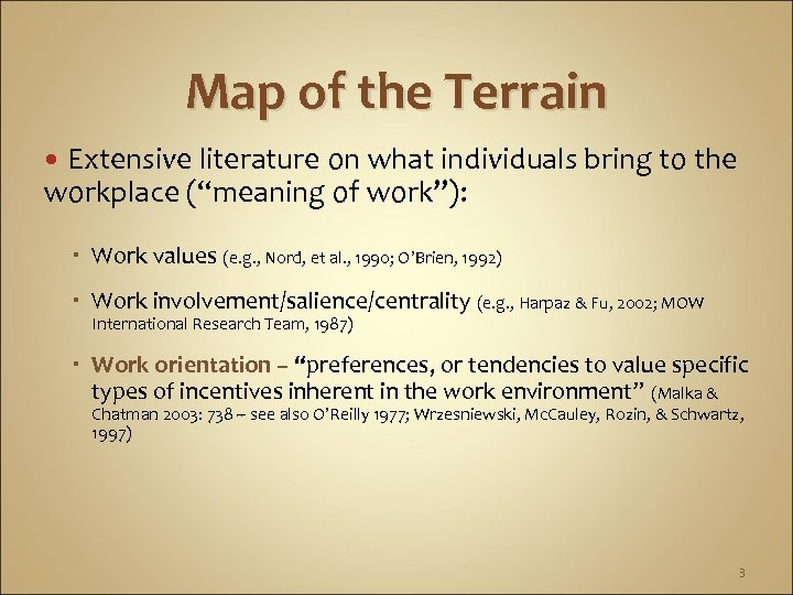 """Map of the Terrain Extensive literature on what individuals bring to the workplace (""""meaning"""