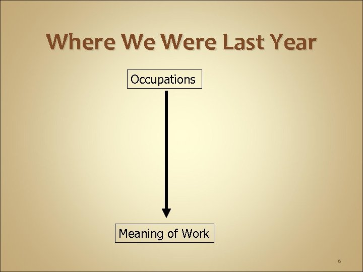 Where We Were Last Year Occupations Meaning of Work 6
