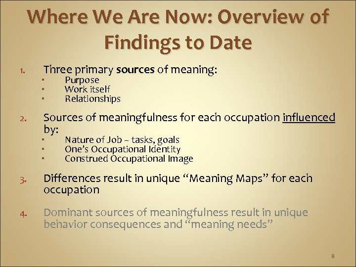 Where We Are Now: Overview of Findings to Date 1. 2. Three primary sources