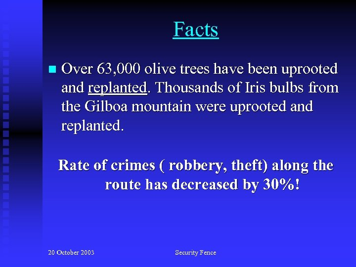 Facts n Over 63, 000 olive trees have been uprooted and replanted. Thousands of
