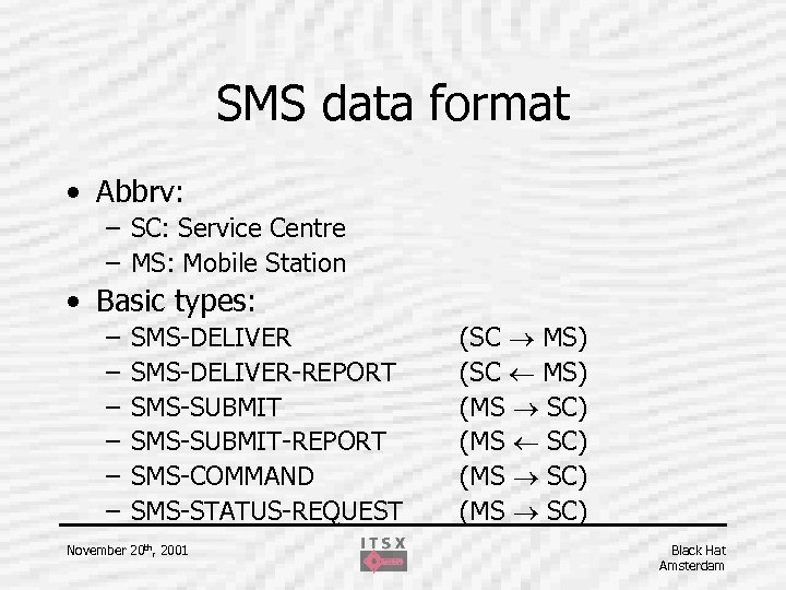 SMS data format • Abbrv: – SC: Service Centre – MS: Mobile Station •
