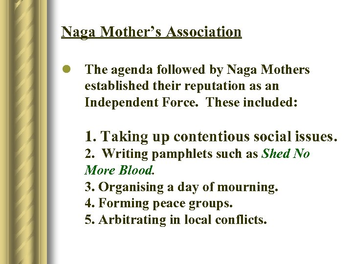 Naga Mother's Association l The agenda followed by Naga Mothers established their reputation as