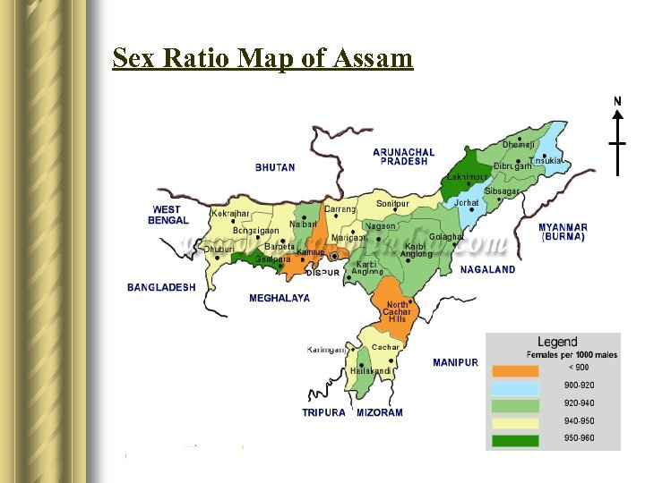 Sex Ratio Map of Assam