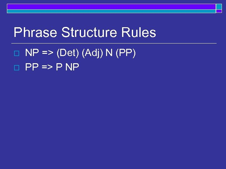 Phrase Structure Rules o o NP => (Det) (Adj) N (PP) PP => P