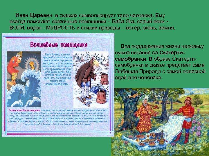 Иван-Царевич в сказках символизирует тело человека. Ему всегда помогают сказочные помощники – Баба