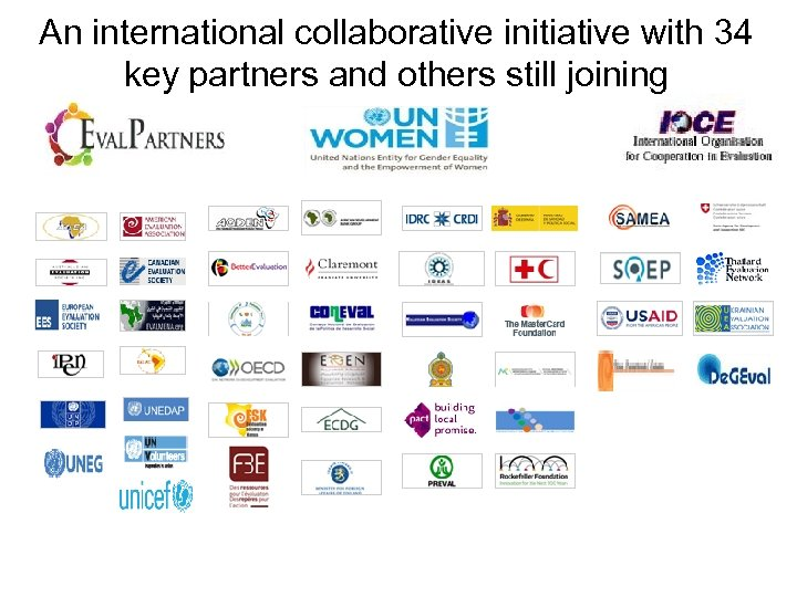 An international collaborative initiative with 34 key partners and others still joining