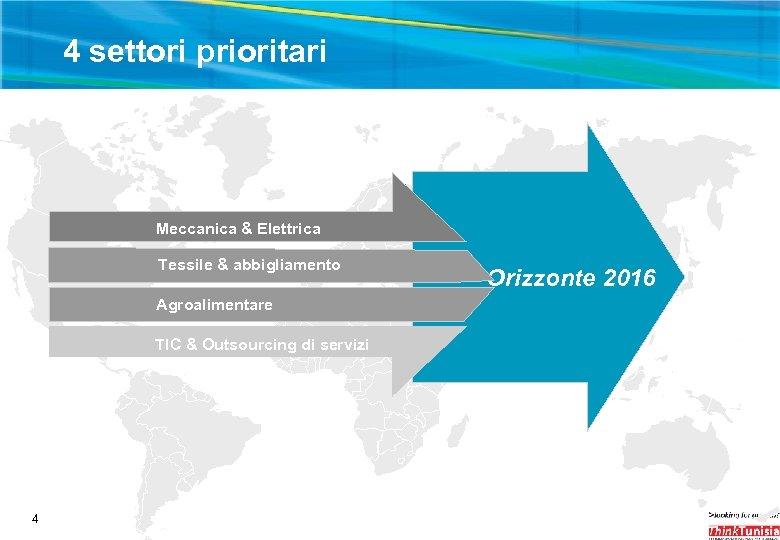 4 settori prioritari Meccanica & Elettrica Tessile & abbigliamento Agroalimentare TIC & Outsourcing di