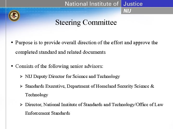 Steering Committee • Purpose is to provide overall direction of the effort and approve