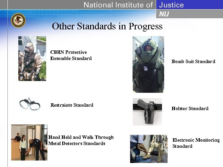 Other Standards in Progress CBRN Protective Ensemble Standard Restraints Standard Hand Held and Walk