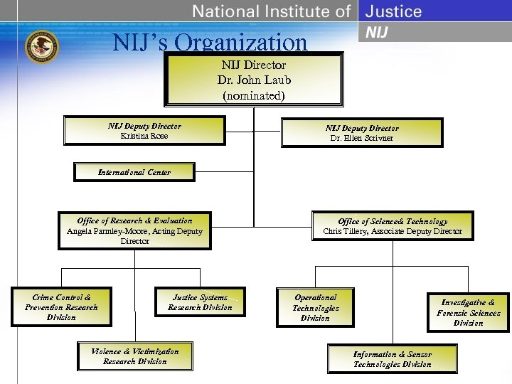 NIJ's Organization NIJ Director Dr. John Laub (nominated) NIJ Deputy Director Kristina Rose NIJ