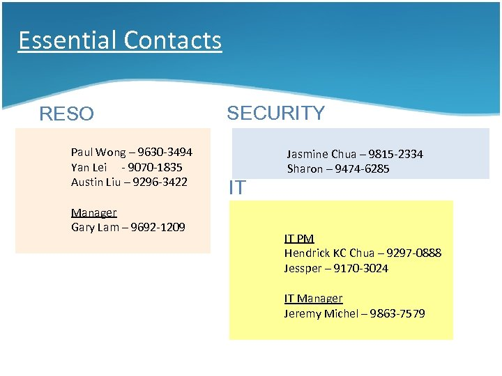 Essential Contacts RESO Paul Wong – 9630 -3494 Yan Lei - 9070 -1835 Austin