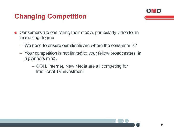 Changing Competition Consumers are controlling their media, particularly video to an increasing degree -
