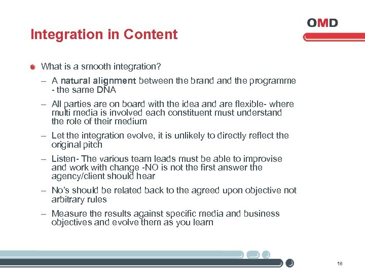 Integration in Content What is a smooth integration? - A natural alignment between the