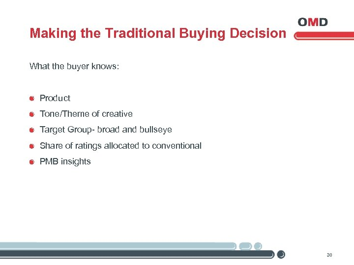 Making the Traditional Buying Decision What the buyer knows: Product Tone/Theme of creative Target