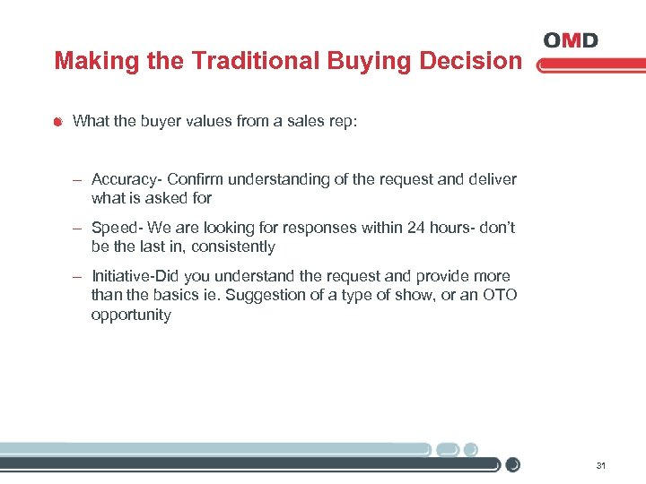 Making the Traditional Buying Decision What the buyer values from a sales rep: -