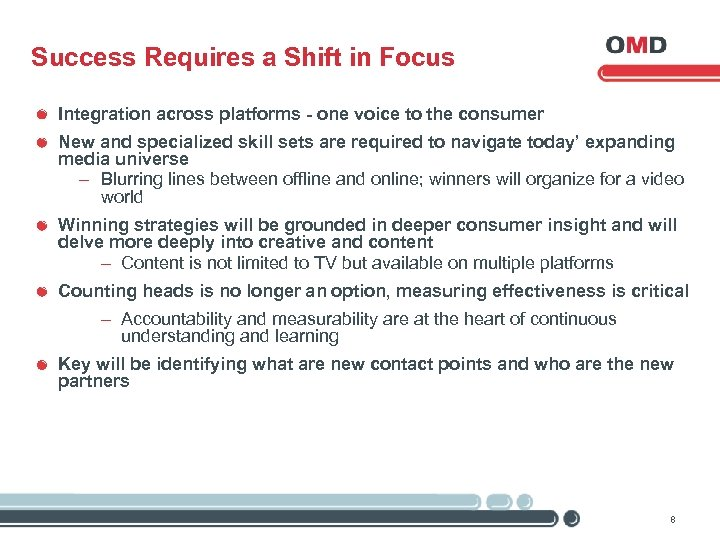 Success Requires a Shift in Focus Integration across platforms - one voice to the