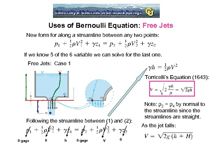 Uses of Bernoulli Equation: Free Jets New form for along a streamline between any
