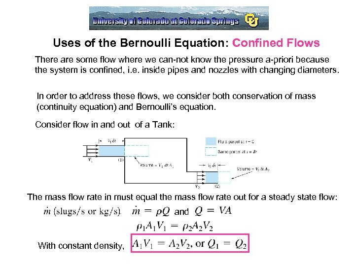 Uses of the Bernoulli Equation: Confined Flows There are some flow where we can-not