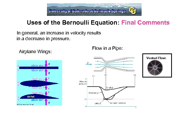 Uses of the Bernoulli Equation: Final Comments In general, an increase in velocity results