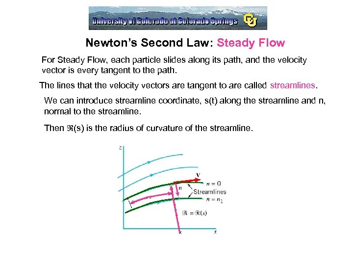 Newton's Second Law: Steady Flow For Steady Flow, each particle slides along its path,